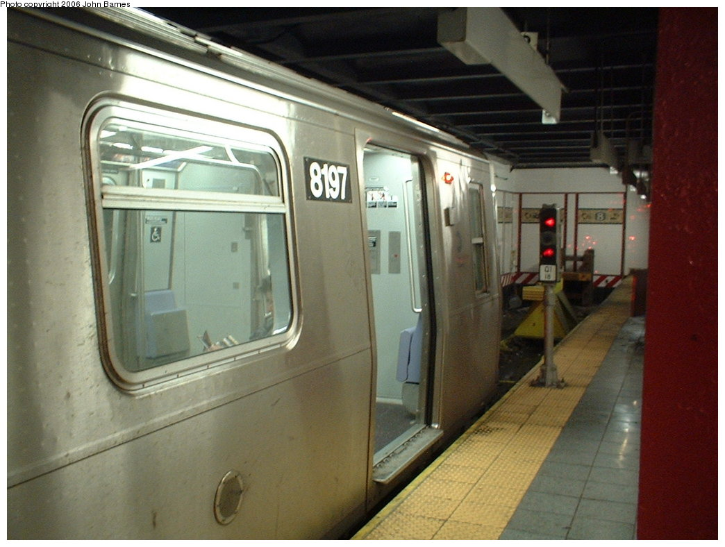 (159k, 1044x788)<br><b>Country:</b> United States<br><b>City:</b> New York<br><b>System:</b> New York City Transit<br><b>Line:</b> BMT Canarsie Line<br><b>Location:</b> 8th Avenue <br><b>Route:</b> L<br><b>Car:</b> R-143 (Kawasaki, 2001-2002) 8197 <br><b>Photo by:</b> John Barnes<br><b>Date:</b> 11/4/2003<br><b>Viewed (this week/total):</b> 7 / 2921
