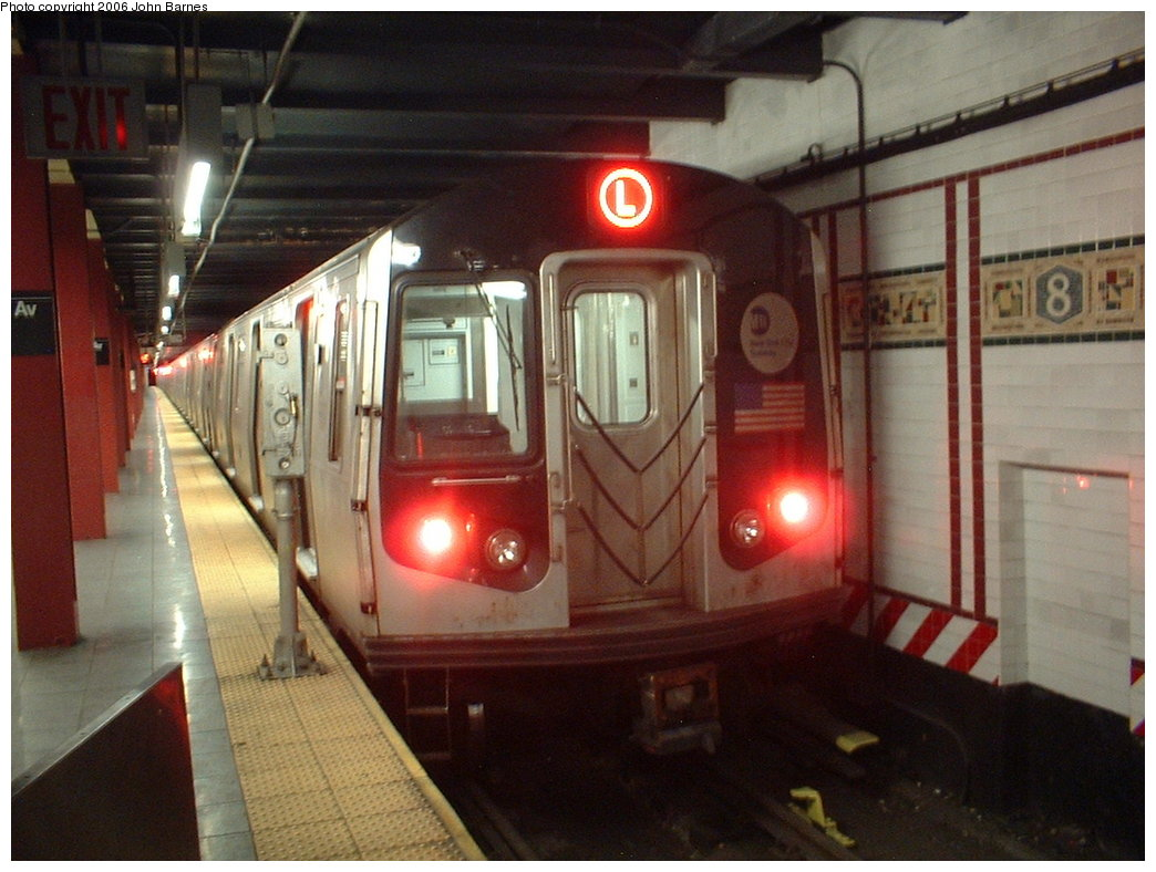 (168k, 1044x788)<br><b>Country:</b> United States<br><b>City:</b> New York<br><b>System:</b> New York City Transit<br><b>Line:</b> BMT Canarsie Line<br><b>Location:</b> 8th Avenue <br><b>Route:</b> L<br><b>Car:</b> R-143 (Kawasaki, 2001-2002) 8197 <br><b>Photo by:</b> John Barnes<br><b>Date:</b> 11/4/2003<br><b>Viewed (this week/total):</b> 1 / 2020