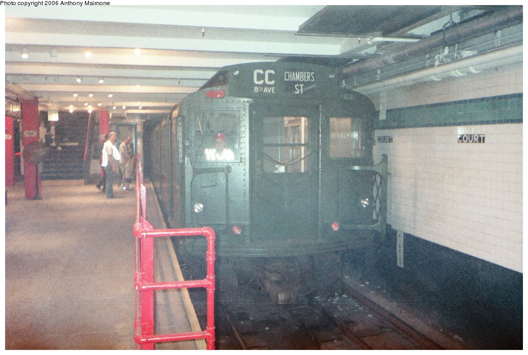(171k, 1044x703)<br><b>Country:</b> United States<br><b>City:</b> New York<br><b>System:</b> New York City Transit<br><b>Location:</b> New York Transit Museum<br><b>Route:</b> Fan Trip<br><b>Car:</b> R-9 (Pressed Steel, 1940)  1802 <br><b>Photo by:</b> Anthony Maimone<br><b>Date:</b> 6/11/2006<br><b>Notes:</b> APTA conference special heading to Coney Island.<br><b>Viewed (this week/total):</b> 2 / 3414