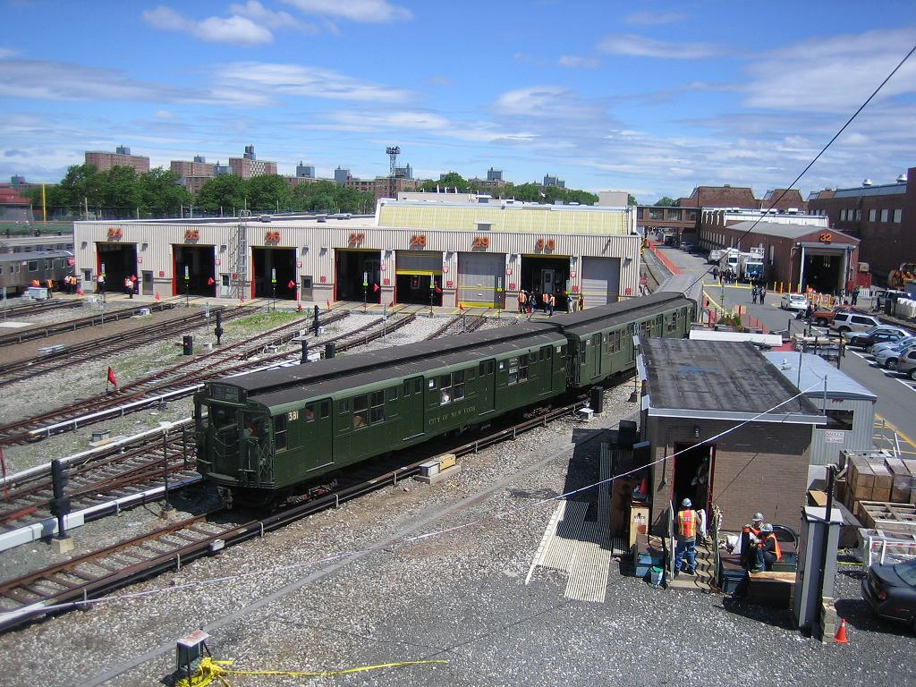(201k, 1024x768)<br><b>Country:</b> United States<br><b>City:</b> New York<br><b>System:</b> New York City Transit<br><b>Location:</b> Coney Island Yard<br><b>Route:</b> Fan Trip<br><b>Car:</b> R-1 (American Car & Foundry, 1930-1931) 381 <br><b>Photo by:</b> Michael Hodurski<br><b>Date:</b> 6/10/2006<br><b>Notes:</b> APTA convention special shuttle between Coney Island Yard and Stillwell Ave.<br><b>Viewed (this week/total):</b> 0 / 3664