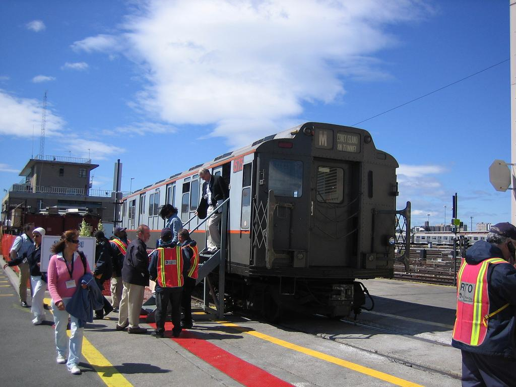 (114k, 1024x768)<br><b>Country:</b> United States<br><b>City:</b> New York<br><b>System:</b> New York City Transit<br><b>Location:</b> Coney Island Yard<br><b>Route:</b> Fan Trip<br><b>Car:</b> R-7A (Pullman, 1938)  1575 <br><b>Photo by:</b> Michael Hodurski<br><b>Date:</b> 6/10/2006<br><b>Notes:</b> APTA convention special shuttle between Coney Island Yard and Stillwell Ave.<br><b>Viewed (this week/total):</b> 0 / 3356