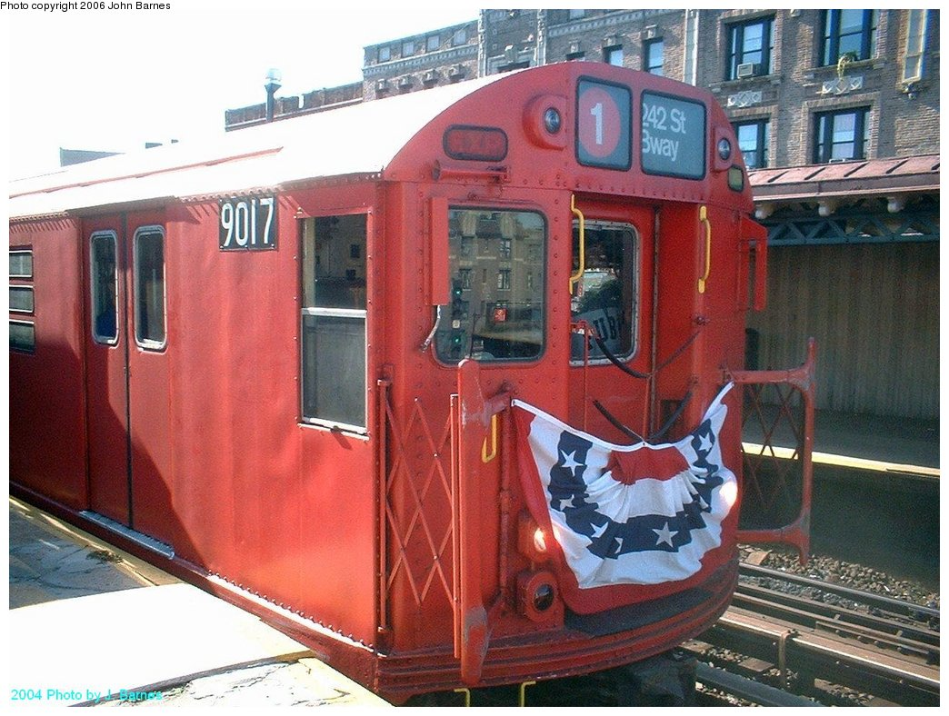 (203k, 1044x788)<br><b>Country:</b> United States<br><b>City:</b> New York<br><b>System:</b> New York City Transit<br><b>Line:</b> IRT West Side Line<br><b>Location:</b> Dyckman Street <br><b>Route:</b> Fan Trip<br><b>Car:</b> R-33 Main Line (St. Louis, 1962-63) 9017 <br><b>Photo by:</b> John Barnes<br><b>Date:</b> 10/27/2004<br><b>Viewed (this week/total):</b> 1 / 1831