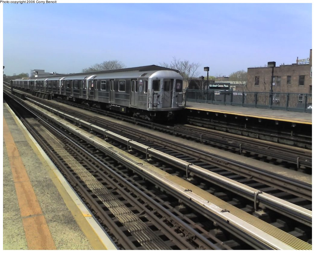(151k, 1044x839)<br><b>Country:</b> United States<br><b>City:</b> New York<br><b>System:</b> New York City Transit<br><b>Line:</b> IRT Flushing Line<br><b>Location:</b> 103rd Street/Corona Plaza <br><b>Route:</b> 7<br><b>Car:</b> R-62A (Bombardier, 1984-1987)  2126 <br><b>Photo by:</b> Corry Benoit<br><b>Date:</b> 4/21/2006<br><b>Viewed (this week/total):</b> 4 / 1634
