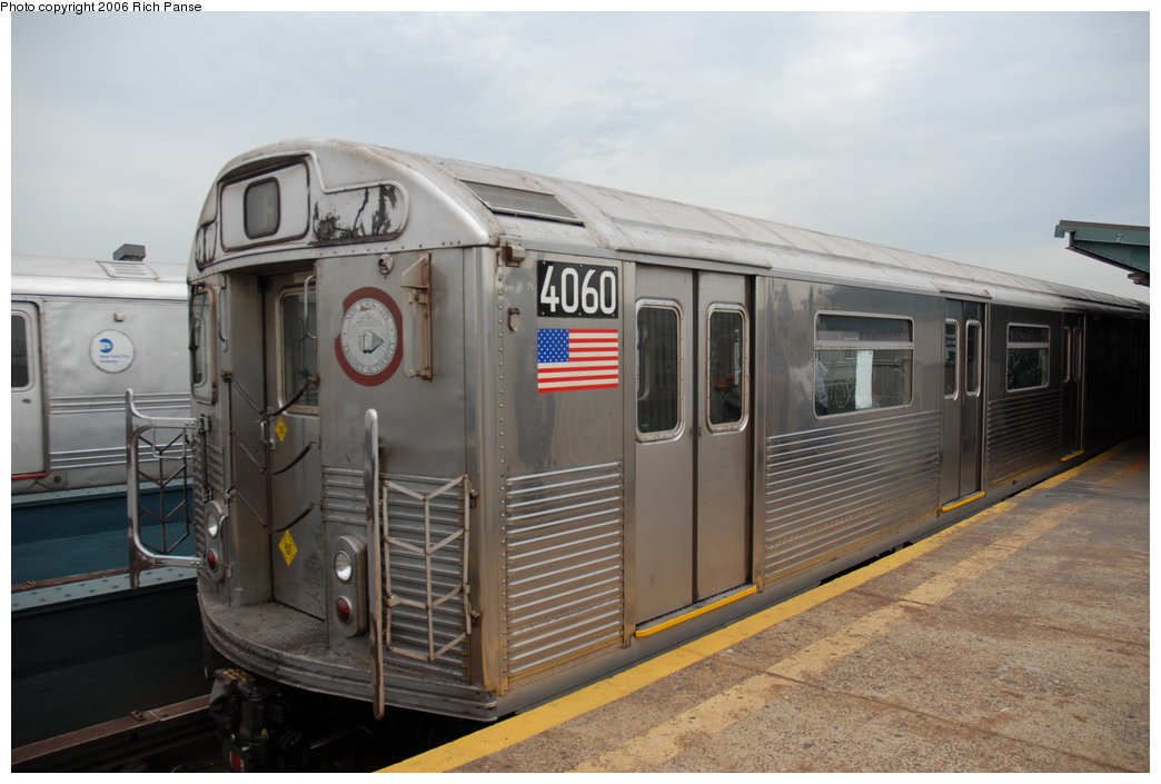 (167k, 1044x705)<br><b>Country:</b> United States<br><b>City:</b> New York<br><b>System:</b> New York City Transit<br><b>Line:</b> IND Fulton Street Line<br><b>Location:</b> Rockaway Boulevard <br><b>Route:</b> A<br><b>Car:</b> R-38 (St. Louis, 1966-1967)  4060 <br><b>Photo by:</b> Richard Panse<br><b>Date:</b> 6/17/2006<br><b>Viewed (this week/total):</b> 2 / 2830