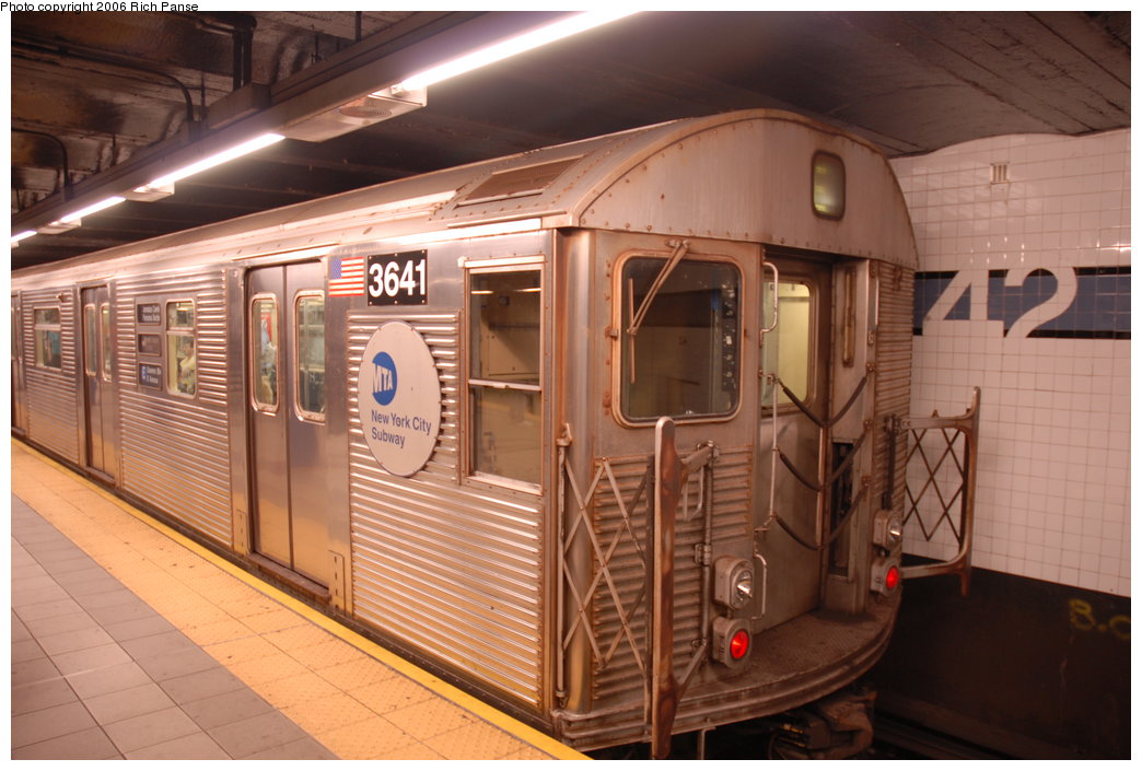 (185k, 1044x705)<br><b>Country:</b> United States<br><b>City:</b> New York<br><b>System:</b> New York City Transit<br><b>Line:</b> IND 8th Avenue Line<br><b>Location:</b> 42nd Street/Port Authority Bus Terminal <br><b>Route:</b> E<br><b>Car:</b> R-32 (Budd, 1964)  3641 <br><b>Photo by:</b> Richard Panse<br><b>Date:</b> 6/16/2006<br><b>Viewed (this week/total):</b> 2 / 3201