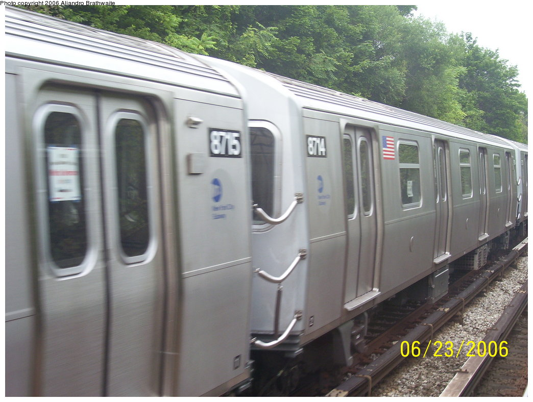 (173k, 1044x788)<br><b>Country:</b> United States<br><b>City:</b> New York<br><b>System:</b> New York City Transit<br><b>Line:</b> BMT Sea Beach Line<br><b>Location:</b> 18th Avenue <br><b>Car:</b> R-160B (Kawasaki, 2005-2008)  8714 <br><b>Photo by:</b> Aliandro Brathwaite<br><b>Date:</b> 6/23/2006<br><b>Notes:</b> Testing on Sea Beach express.<br><b>Viewed (this week/total):</b> 8 / 2127