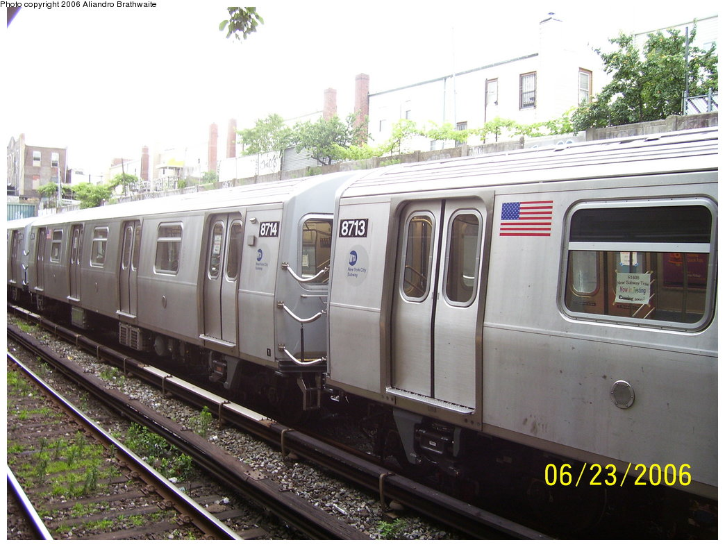 (188k, 1044x788)<br><b>Country:</b> United States<br><b>City:</b> New York<br><b>System:</b> New York City Transit<br><b>Line:</b> BMT Sea Beach Line<br><b>Location:</b> 18th Avenue <br><b>Car:</b> R-160B (Kawasaki, 2005-2008)  8714 <br><b>Photo by:</b> Aliandro Brathwaite<br><b>Date:</b> 6/23/2006<br><b>Notes:</b> Testing on Sea Beach express.<br><b>Viewed (this week/total):</b> 10 / 1978
