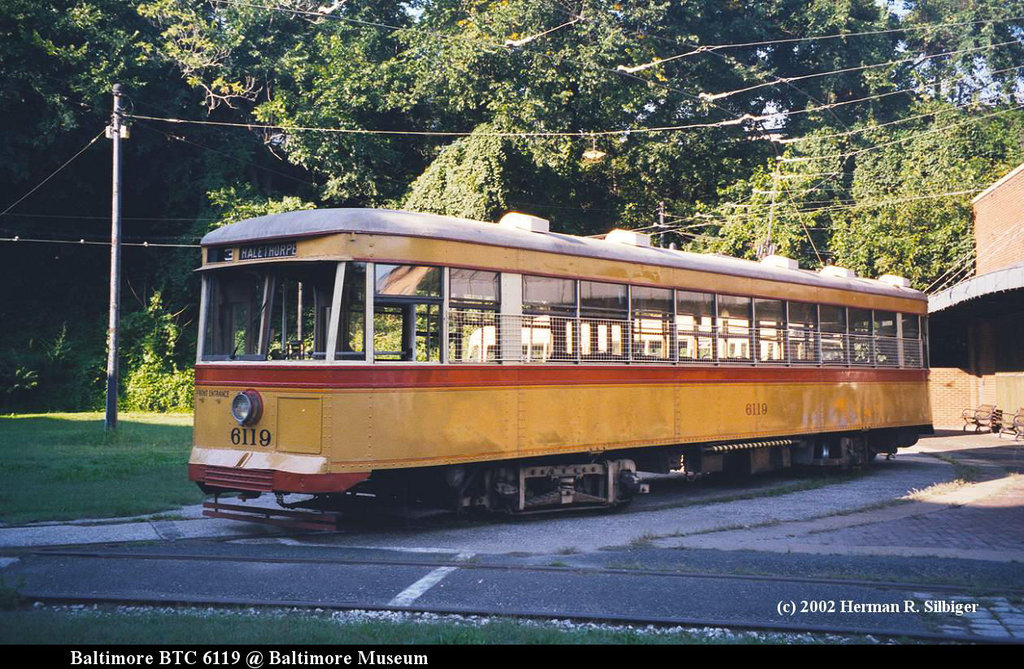 (248k, 1024x669)<br><b>Country:</b> United States<br><b>City:</b> Baltimore, MD<br><b>System:</b> Baltimore Streetcar Museum <br><b>Car:</b>  6119 <br><b>Photo by:</b> Herman R. Silbiger<br><b>Date:</b> 2002<br><b>Viewed (this week/total):</b> 2 / 1020