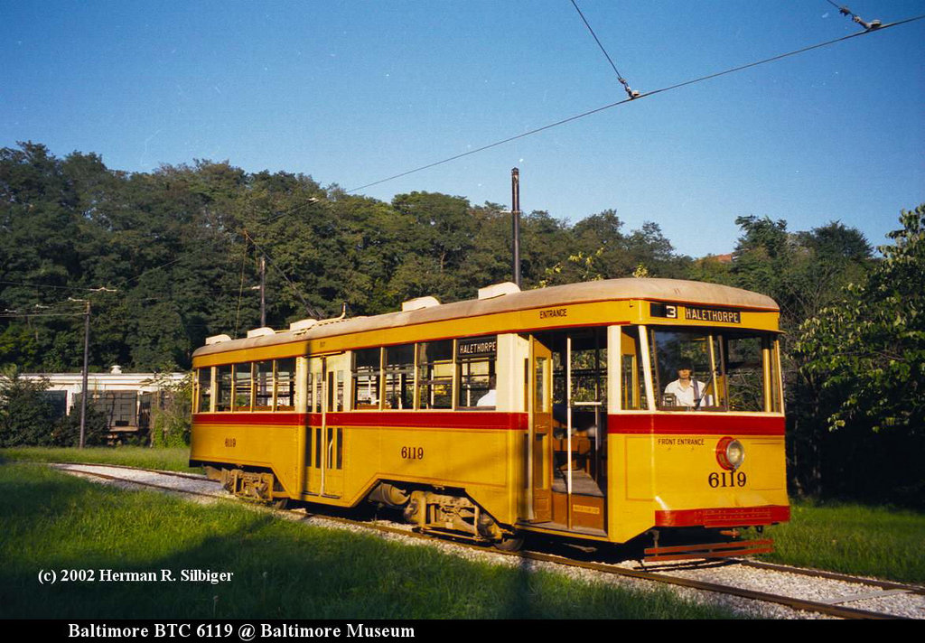 (206k, 1024x712)<br><b>Country:</b> United States<br><b>City:</b> Baltimore, MD<br><b>System:</b> Baltimore Streetcar Museum <br><b>Car:</b>  6119 <br><b>Photo by:</b> Herman R. Silbiger<br><b>Date:</b> 2002<br><b>Viewed (this week/total):</b> 0 / 1398