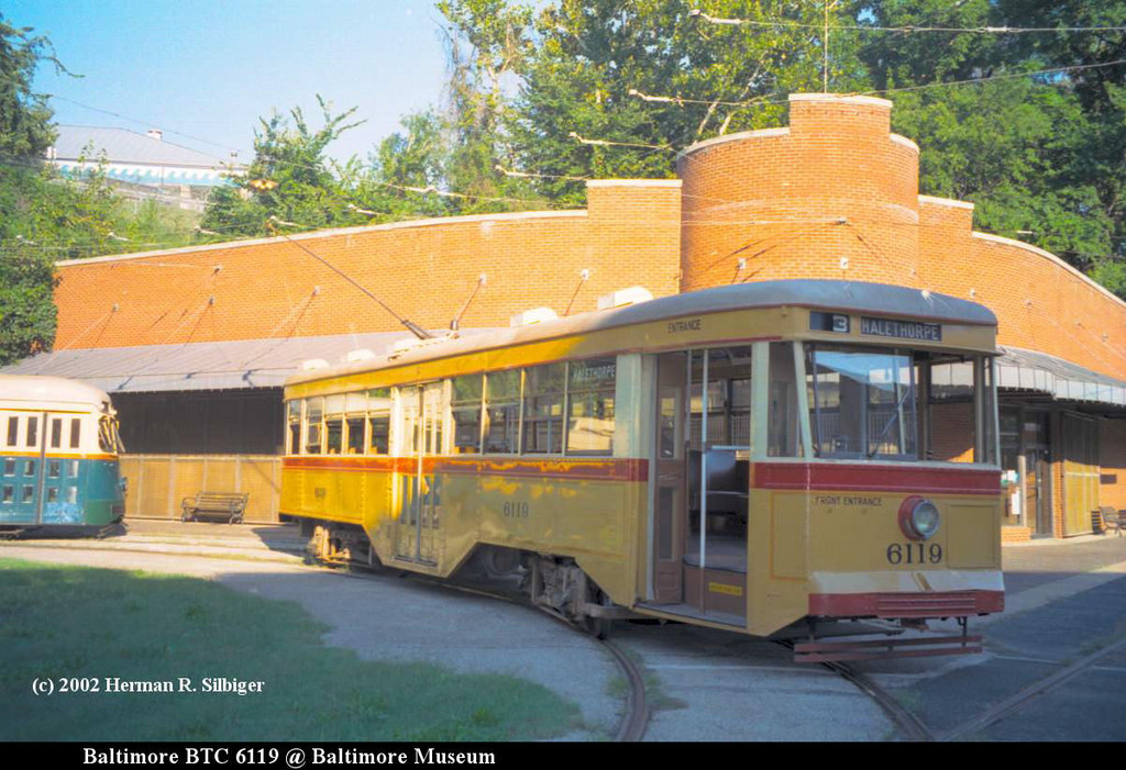 (199k, 1024x701)<br><b>Country:</b> United States<br><b>City:</b> Baltimore, MD<br><b>System:</b> Baltimore Streetcar Museum <br><b>Car:</b>  6119 <br><b>Photo by:</b> Herman R. Silbiger<br><b>Date:</b> 2002<br><b>Viewed (this week/total):</b> 1 / 787