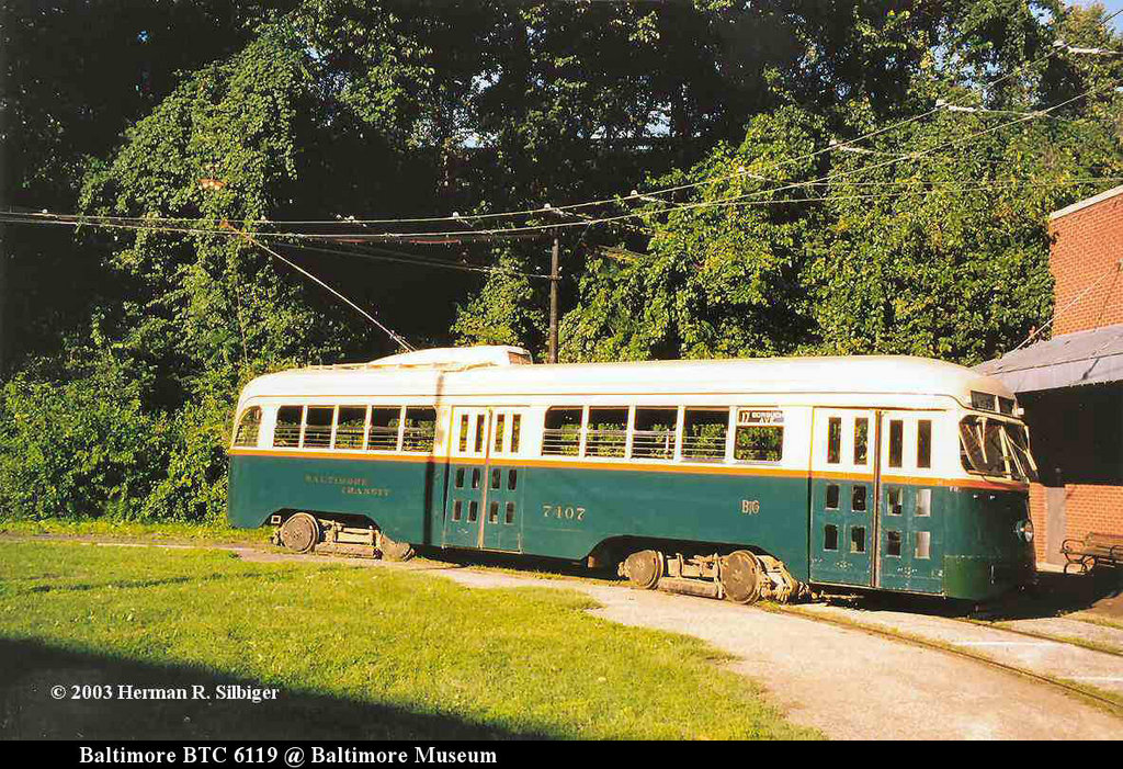 (311k, 1024x701)<br><b>Country:</b> United States<br><b>City:</b> Baltimore, MD<br><b>System:</b> Baltimore Streetcar Museum <br><b>Car:</b> PCC 7407 <br><b>Photo by:</b> Herman R. Silbiger<br><b>Date:</b> 2003<br><b>Viewed (this week/total):</b> 0 / 633
