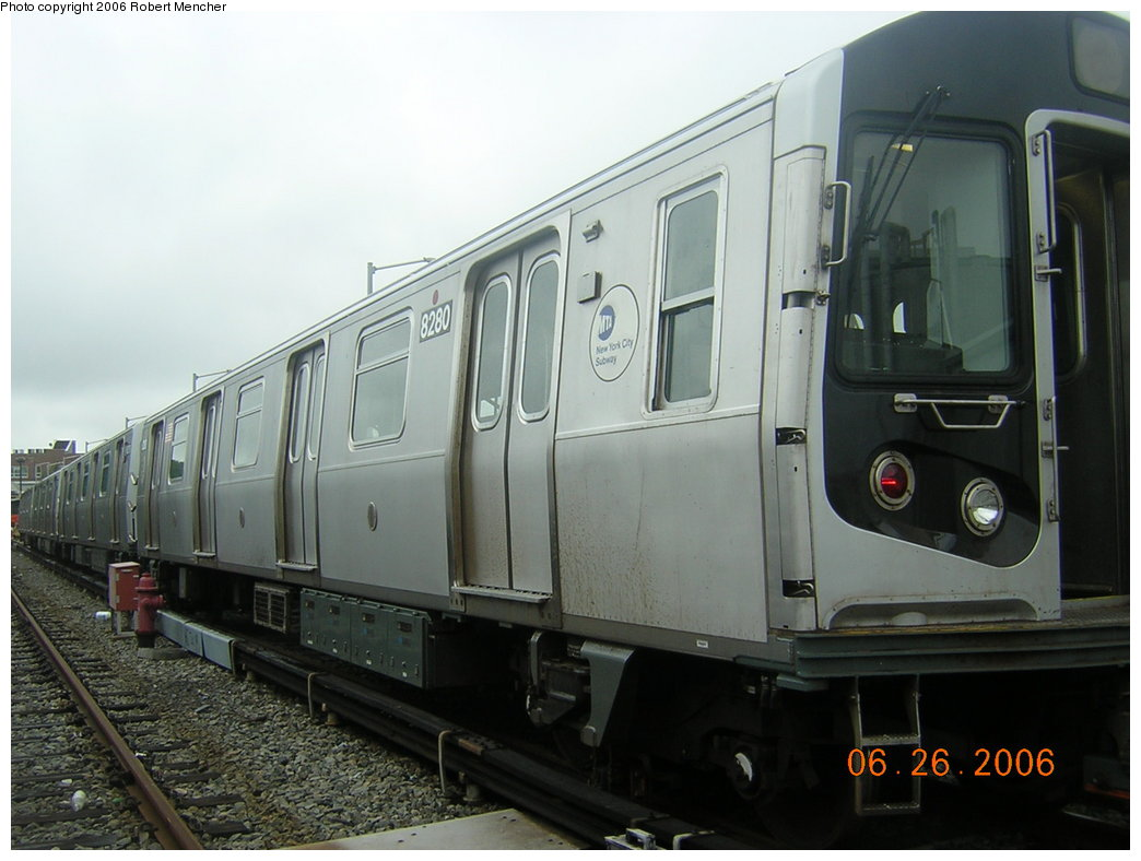 (168k, 1044x788)<br><b>Country:</b> United States<br><b>City:</b> New York<br><b>System:</b> New York City Transit<br><b>Location:</b> Rockaway Parkway (Canarsie) Yard<br><b>Car:</b> R-143 (Kawasaki, 2001-2002) 8280 <br><b>Photo by:</b> Robert Mencher<br><b>Date:</b> 6/26/2006<br><b>Viewed (this week/total):</b> 5 / 2715