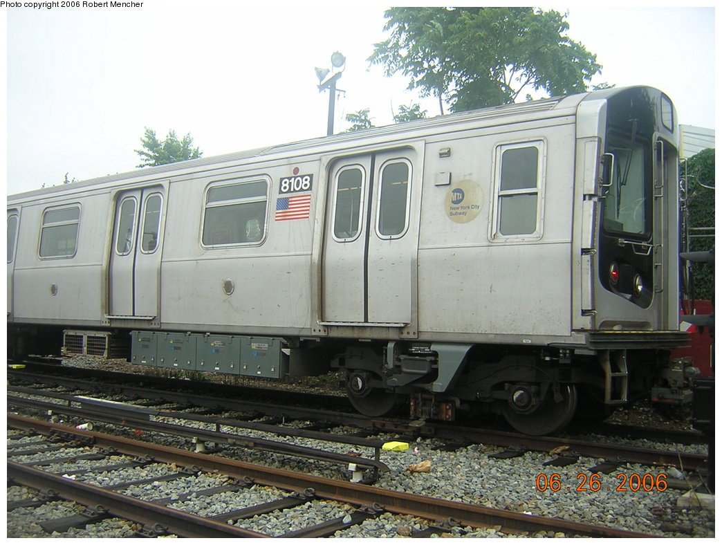 (218k, 1044x788)<br><b>Country:</b> United States<br><b>City:</b> New York<br><b>System:</b> New York City Transit<br><b>Location:</b> Rockaway Parkway (Canarsie) Yard<br><b>Car:</b> R-143 (Kawasaki, 2001-2002) 8108 <br><b>Photo by:</b> Robert Mencher<br><b>Date:</b> 6/26/2006<br><b>Viewed (this week/total):</b> 2 / 1993