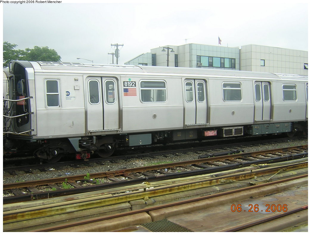 (197k, 1044x788)<br><b>Country:</b> United States<br><b>City:</b> New York<br><b>System:</b> New York City Transit<br><b>Location:</b> Rockaway Parkway (Canarsie) Yard<br><b>Car:</b> R-143 (Kawasaki, 2001-2002) 8192 <br><b>Photo by:</b> Robert Mencher<br><b>Date:</b> 6/26/2006<br><b>Viewed (this week/total):</b> 2 / 3178