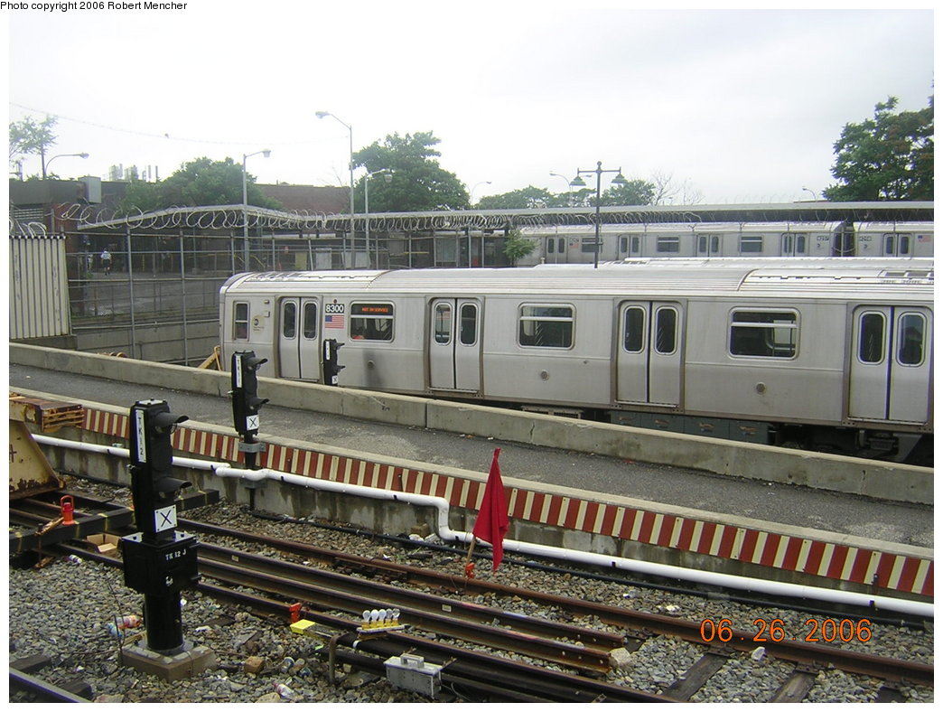 (234k, 1044x788)<br><b>Country:</b> United States<br><b>City:</b> New York<br><b>System:</b> New York City Transit<br><b>Location:</b> Rockaway Parkway (Canarsie) Yard<br><b>Car:</b> R-143 (Kawasaki, 2001-2002) 8300 <br><b>Photo by:</b> Robert Mencher<br><b>Date:</b> 6/26/2006<br><b>Viewed (this week/total):</b> 6 / 4199