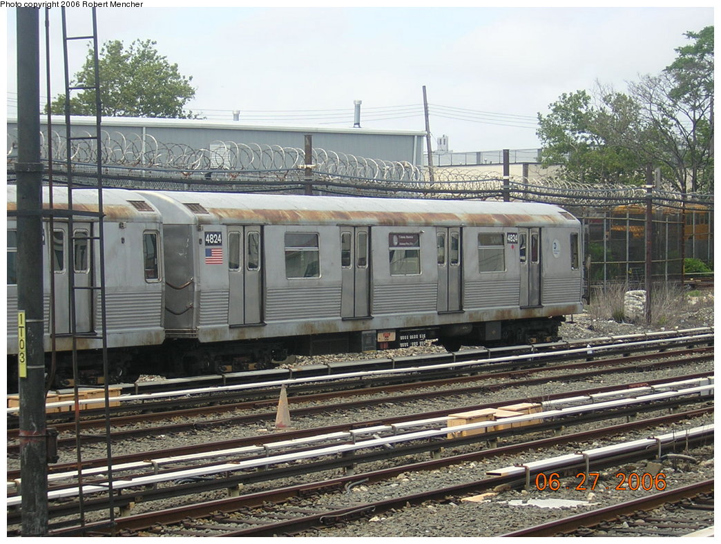 (258k, 1044x788)<br><b>Country:</b> United States<br><b>City:</b> New York<br><b>System:</b> New York City Transit<br><b>Location:</b> Rockaway Parkway (Canarsie) Yard<br><b>Car:</b> R-42 (St. Louis, 1969-1970)  4824 <br><b>Photo by:</b> Robert Mencher<br><b>Date:</b> 6/27/2006<br><b>Viewed (this week/total):</b> 0 / 2848