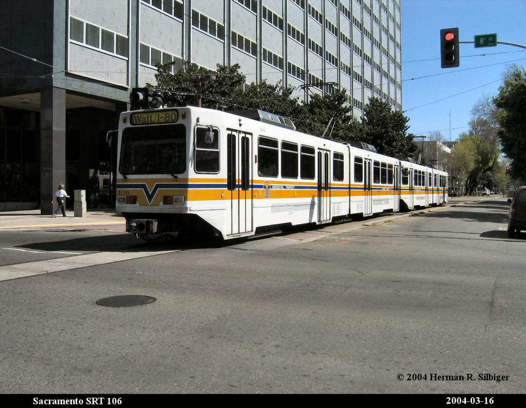 (219k, 1024x795)<br><b>Country:</b> United States<br><b>City:</b> Sacramento, CA<br><b>System:</b> SACRT Light Rail<br><b>Location:</b> 8th & O <br><b>Car:</b> Sacramento Siemens LRV  106 <br><b>Photo by:</b> Herman R. Silbiger<br><b>Date:</b> 3/16/2004<br><b>Viewed (this week/total):</b> 1 / 1058