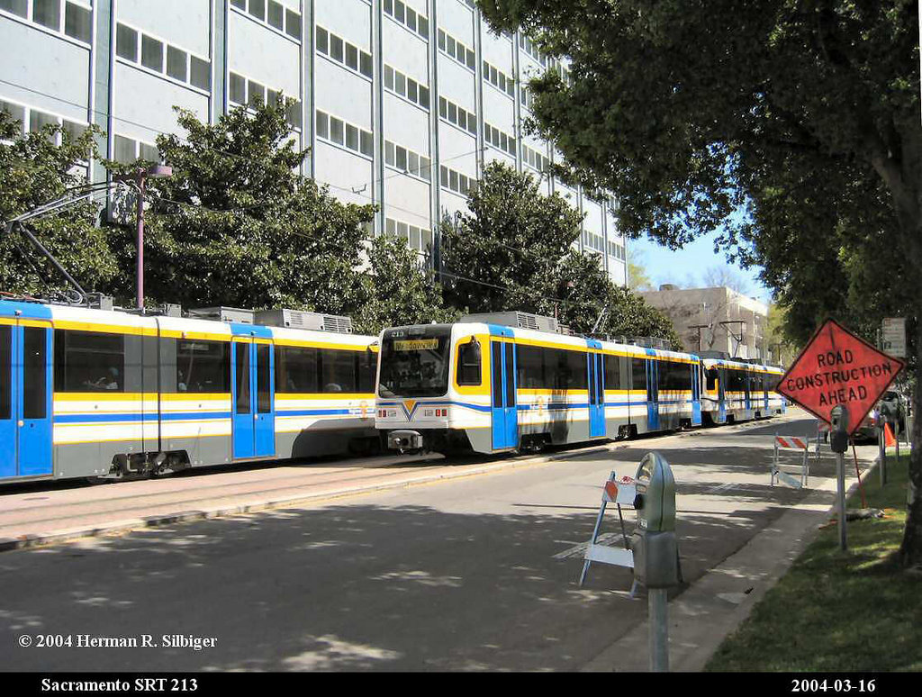 (263k, 1024x774)<br><b>Country:</b> United States<br><b>City:</b> Sacramento, CA<br><b>System:</b> SACRT Light Rail<br><b>Location:</b> 8th & O <br><b>Car:</b> Sacramento CAF LRV  213 <br><b>Photo by:</b> Herman R. Silbiger<br><b>Date:</b> 3/16/2004<br><b>Viewed (this week/total):</b> 0 / 809