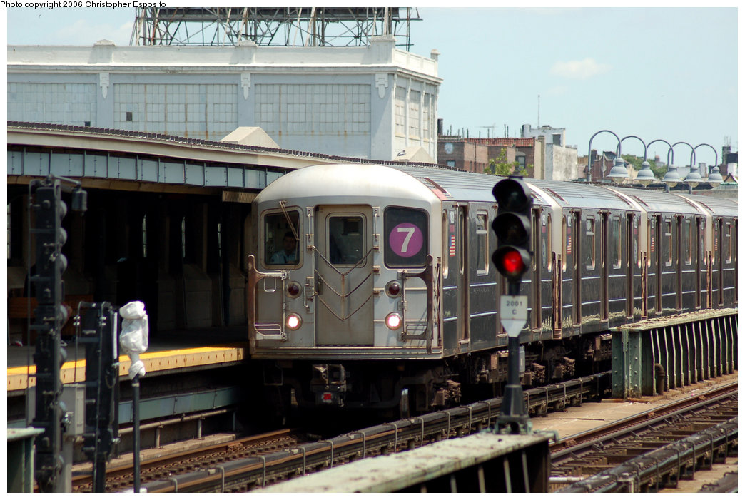 (195k, 1044x701)<br><b>Country:</b> United States<br><b>City:</b> New York<br><b>System:</b> New York City Transit<br><b>Line:</b> IRT Flushing Line<br><b>Location:</b> 33rd Street/Rawson Street <br><b>Route:</b> 7<br><b>Car:</b> R-62A (Bombardier, 1984-1987)  1821 <br><b>Photo by:</b> Christopher Esposito<br><b>Date:</b> 7/7/2006<br><b>Viewed (this week/total):</b> 1 / 1844