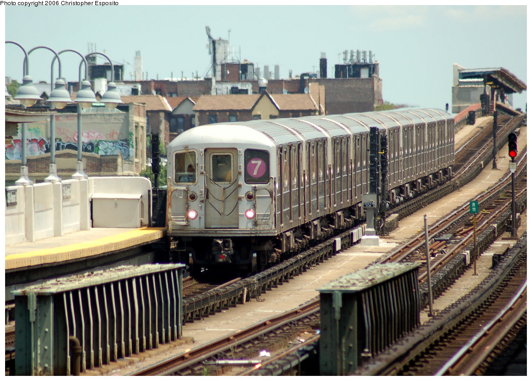 (228k, 1044x748)<br><b>Country:</b> United States<br><b>City:</b> New York<br><b>System:</b> New York City Transit<br><b>Line:</b> IRT Flushing Line<br><b>Location:</b> 33rd Street/Rawson Street <br><b>Route:</b> 7<br><b>Car:</b> R-62A (Bombardier, 1984-1987)   <br><b>Photo by:</b> Christopher Esposito<br><b>Date:</b> 7/7/2006<br><b>Viewed (this week/total):</b> 1 / 1997
