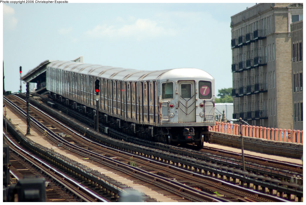 (198k, 1044x701)<br><b>Country:</b> United States<br><b>City:</b> New York<br><b>System:</b> New York City Transit<br><b>Line:</b> IRT Flushing Line<br><b>Location:</b> 33rd Street/Rawson Street <br><b>Route:</b> 7<br><b>Car:</b> R-62A (Bombardier, 1984-1987)   <br><b>Photo by:</b> Christopher Esposito<br><b>Date:</b> 7/7/2006<br><b>Viewed (this week/total):</b> 2 / 1693