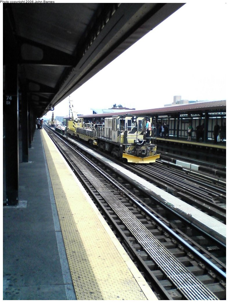 (165k, 788x1044)<br><b>Country:</b> United States<br><b>City:</b> New York<br><b>System:</b> New York City Transit<br><b>Line:</b> IRT Flushing Line<br><b>Location:</b> 74th Street/Broadway <br><b>Route:</b> Work Service<br><b>Car:</b> R-43 Locomotive  60 <br><b>Photo by:</b> John Barnes<br><b>Date:</b> 7/2/2006<br><b>Viewed (this week/total):</b> 1 / 2020