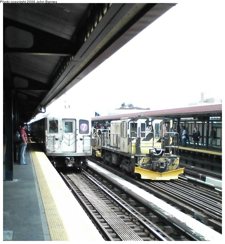 (113k, 740x802)<br><b>Country:</b> United States<br><b>City:</b> New York<br><b>System:</b> New York City Transit<br><b>Line:</b> IRT Flushing Line<br><b>Location:</b> 74th Street/Broadway <br><b>Route:</b> Work Service<br><b>Car:</b> R-43 Locomotive  60 <br><b>Photo by:</b> John Barnes<br><b>Date:</b> 7/2/2006<br><b>Viewed (this week/total):</b> 3 / 2692