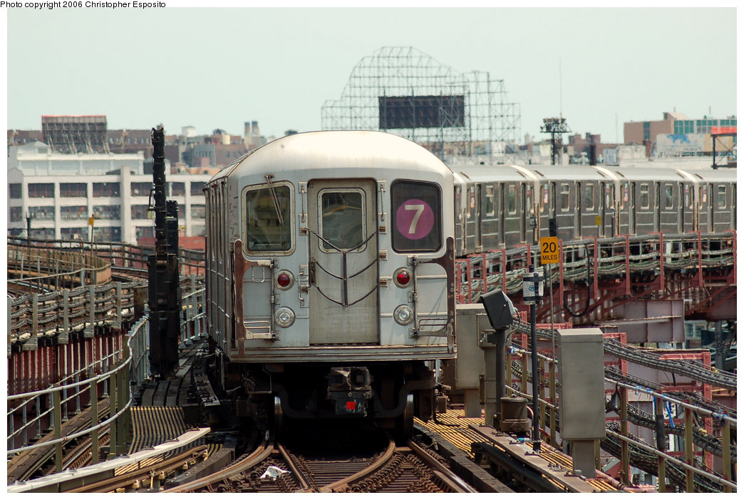 (215k, 1044x701)<br><b>Country:</b> United States<br><b>City:</b> New York<br><b>System:</b> New York City Transit<br><b>Line:</b> IRT Flushing Line<br><b>Location:</b> Queensborough Plaza <br><b>Route:</b> 7<br><b>Car:</b> R-62A (Bombardier, 1984-1987)   <br><b>Photo by:</b> Christopher Esposito<br><b>Date:</b> 7/7/2006<br><b>Viewed (this week/total):</b> 2 / 2563