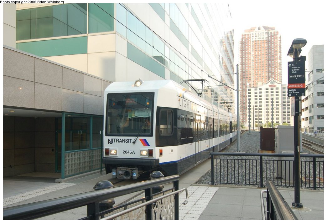 (209k, 1044x713)<br><b>Country:</b> United States<br><b>City:</b> Jersey City, NJ<br><b>System:</b> Hudson Bergen Light Rail<br><b>Location:</b> Pavonia/Newport <br><b>Car:</b> NJT-HBLR LRV (Kinki-Sharyo, 1998-99)  2045 <br><b>Photo by:</b> Brian Weinberg<br><b>Date:</b> 7/19/2006<br><b>Viewed (this week/total):</b> 0 / 1530
