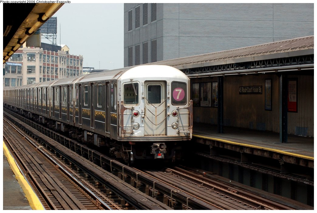 (170k, 1044x701)<br><b>Country:</b> United States<br><b>City:</b> New York<br><b>System:</b> New York City Transit<br><b>Line:</b> IRT Flushing Line<br><b>Location:</b> Court House Square/45th Road <br><b>Route:</b> 7<br><b>Car:</b> R-62A (Bombardier, 1984-1987)   <br><b>Photo by:</b> Christopher Esposito<br><b>Date:</b> 7/26/2006<br><b>Viewed (this week/total):</b> 4 / 1428