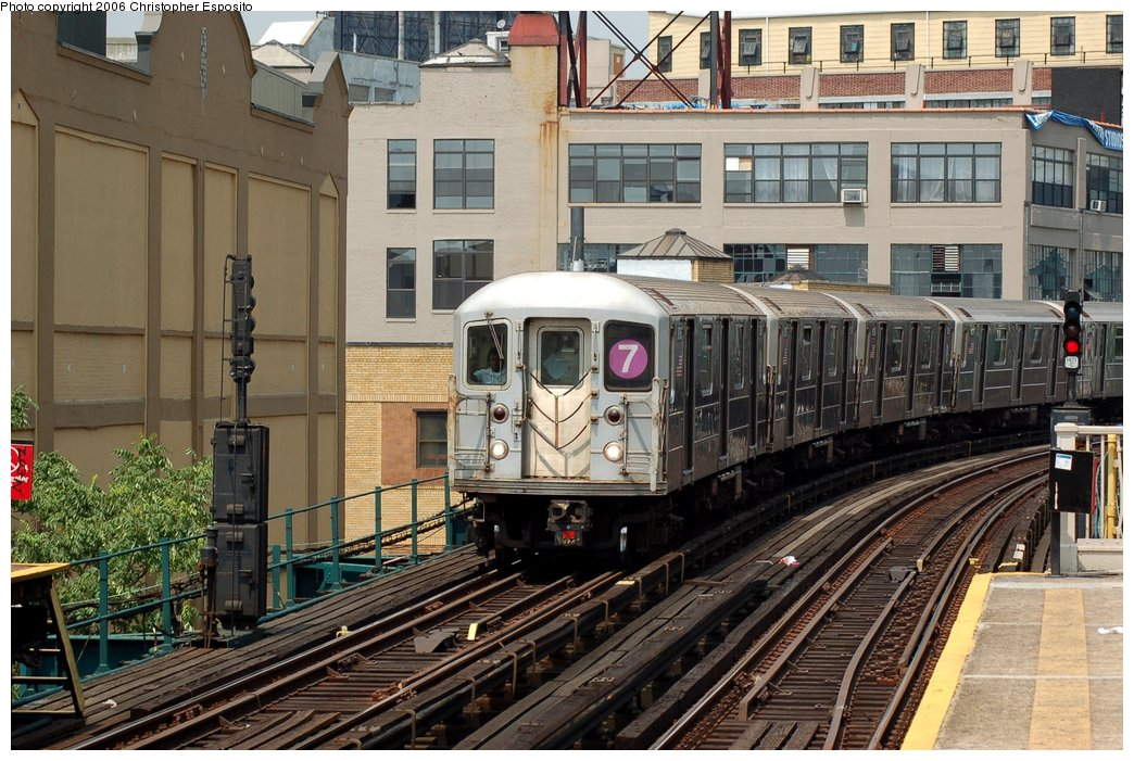 (196k, 1044x701)<br><b>Country:</b> United States<br><b>City:</b> New York<br><b>System:</b> New York City Transit<br><b>Line:</b> IRT Flushing Line<br><b>Location:</b> Court House Square/45th Road <br><b>Route:</b> 7<br><b>Car:</b> R-62A (Bombardier, 1984-1987)   <br><b>Photo by:</b> Christopher Esposito<br><b>Date:</b> 7/26/2006<br><b>Viewed (this week/total):</b> 1 / 1876