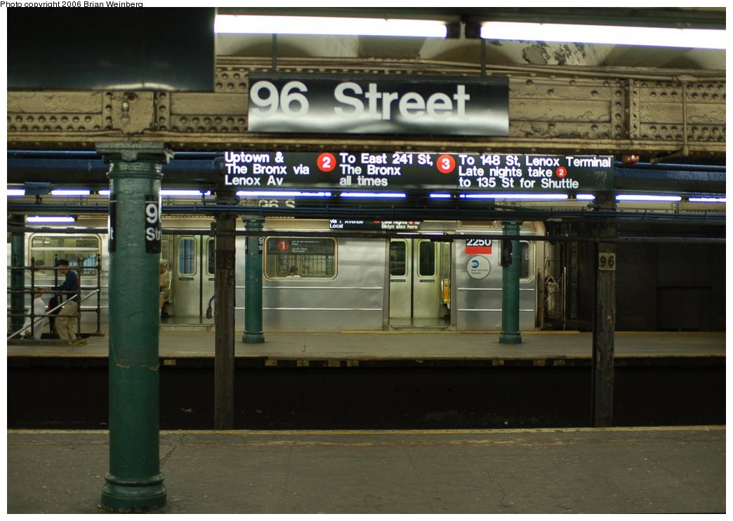 (199k, 1044x743)<br><b>Country:</b> United States<br><b>City:</b> New York<br><b>System:</b> New York City Transit<br><b>Line:</b> IRT West Side Line<br><b>Location:</b> 96th Street <br><b>Route:</b> 1<br><b>Car:</b> R-62A (Bombardier, 1984-1987)  2250 <br><b>Photo by:</b> Brian Weinberg<br><b>Date:</b> 7/23/2006<br><b>Viewed (this week/total):</b> 5 / 5794