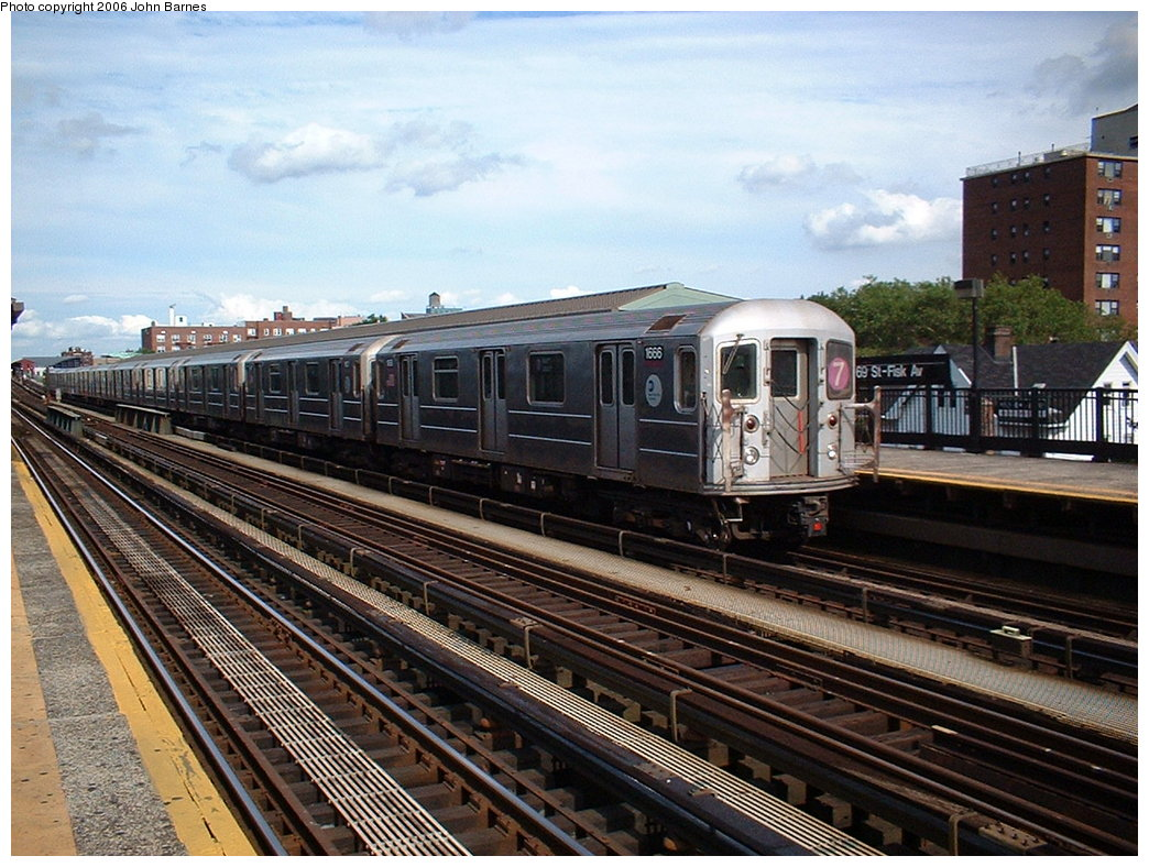 (221k, 1044x788)<br><b>Country:</b> United States<br><b>City:</b> New York<br><b>System:</b> New York City Transit<br><b>Line:</b> IRT Flushing Line<br><b>Location:</b> 69th Street/Fisk Avenue <br><b>Route:</b> 7<br><b>Car:</b> R-62A (Bombardier, 1984-1987)  1666 <br><b>Photo by:</b> John Barnes<br><b>Date:</b> 7/23/2006<br><b>Viewed (this week/total):</b> 2 / 1435