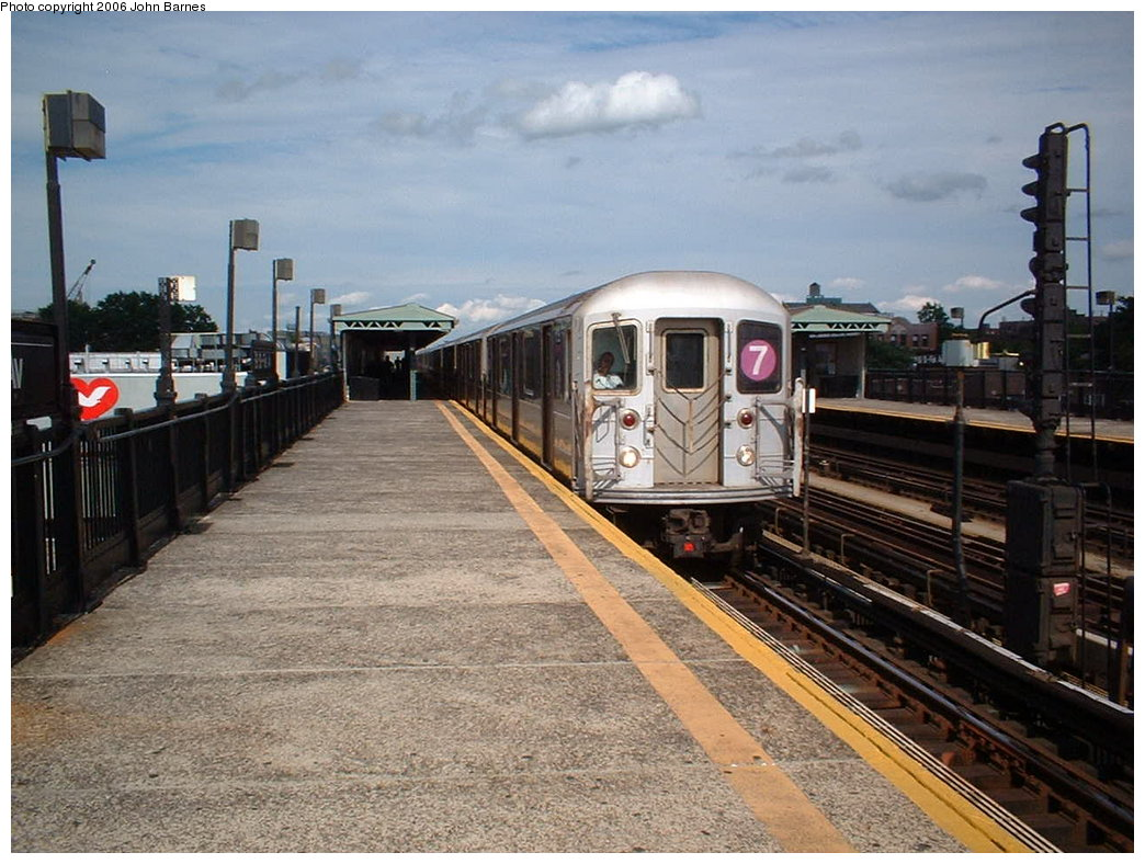 (196k, 1044x788)<br><b>Country:</b> United States<br><b>City:</b> New York<br><b>System:</b> New York City Transit<br><b>Line:</b> IRT Flushing Line<br><b>Location:</b> 69th Street/Fisk Avenue <br><b>Route:</b> 7<br><b>Car:</b> R-62A (Bombardier, 1984-1987)  1735 <br><b>Photo by:</b> John Barnes<br><b>Date:</b> 7/23/2006<br><b>Viewed (this week/total):</b> 1 / 1754