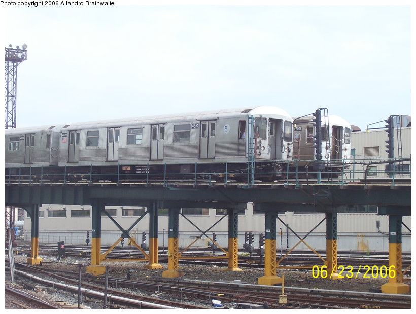 (117k, 820x620)<br><b>Country:</b> United States<br><b>City:</b> New York<br><b>System:</b> New York City Transit<br><b>Location:</b> Coney Island Yard<br><b>Route:</b> M<br><b>Car:</b> R-42 (St. Louis, 1969-1970)  4619 <br><b>Photo by:</b> Aliandro Brathwaite<br><b>Date:</b> 6/23/2006<br><b>Notes:</b> With EP008 behind on West End yard lead.<br><b>Viewed (this week/total):</b> 1 / 4241