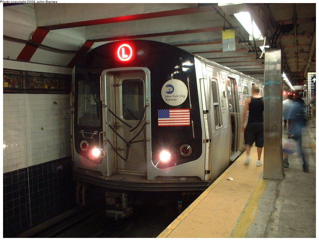 (170k, 1044x788)<br><b>Country:</b> United States<br><b>City:</b> New York<br><b>System:</b> New York City Transit<br><b>Line:</b> BMT Canarsie Line<br><b>Location:</b> Myrtle Avenue <br><b>Route:</b> L<br><b>Car:</b> R-143 (Kawasaki, 2001-2002) 8300 <br><b>Photo by:</b> John Barnes<br><b>Date:</b> 8/7/2006<br><b>Viewed (this week/total):</b> 0 / 2726