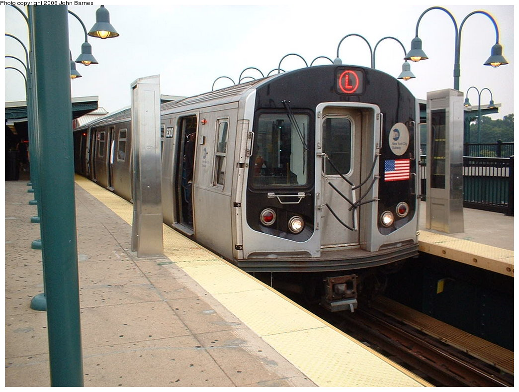 (181k, 1044x788)<br><b>Country:</b> United States<br><b>City:</b> New York<br><b>System:</b> New York City Transit<br><b>Line:</b> BMT Canarsie Line<br><b>Location:</b> Broadway Junction <br><b>Route:</b> L<br><b>Car:</b> R-143 (Kawasaki, 2001-2002) 8300 <br><b>Photo by:</b> John Barnes<br><b>Date:</b> 8/7/2006<br><b>Viewed (this week/total):</b> 0 / 1971