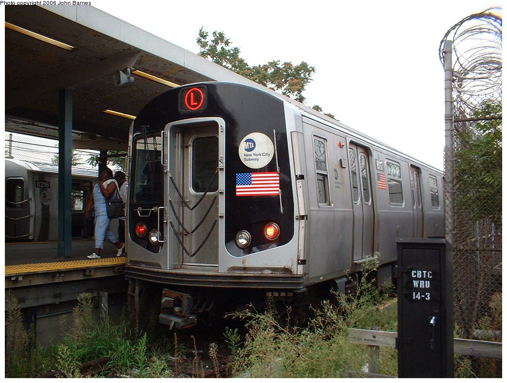 (203k, 1044x788)<br><b>Country:</b> United States<br><b>City:</b> New York<br><b>System:</b> New York City Transit<br><b>Line:</b> BMT Canarsie Line<br><b>Location:</b> Rockaway Parkway <br><b>Route:</b> L<br><b>Car:</b> R-143 (Kawasaki, 2001-2002) 8117 <br><b>Photo by:</b> John Barnes<br><b>Date:</b> 8/7/2006<br><b>Viewed (this week/total):</b> 3 / 2901