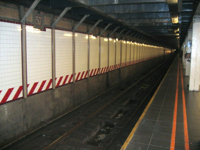 (111k, 640x480)<br><b>Country:</b> United States<br><b>City:</b> New York<br><b>System:</b> New York City Transit<br><b>Line:</b> BMT Broadway Line<br><b>Location:</b> 57th Street <br><b>Photo by:</b> Charles Ali<br><b>Date:</b> 7/22/2006<br><b>Notes:</b> Platform view of BMT 57th St. station.<br><b>Viewed (this week/total):</b> 0 / 1572