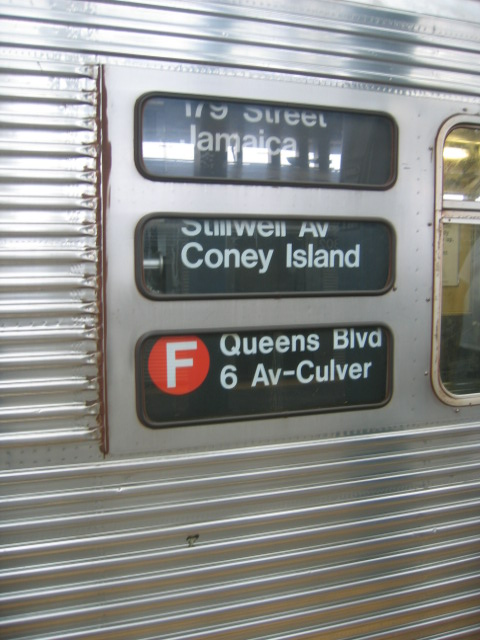 (106k, 480x640)<br><b>Country:</b> United States<br><b>City:</b> New York<br><b>System:</b> New York City Transit<br><b>Location:</b> Coney Island/Stillwell Avenue<br><b>Route:</b> F<br><b>Car:</b> R-32 (Budd, 1964)   <br><b>Photo by:</b> Charles Ali<br><b>Date:</b> 7/22/2006<br><b>Notes:</b> Exterior rollsign on an R32 car.<br><b>Viewed (this week/total):</b> 2 / 3113