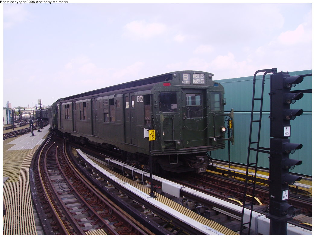 (177k, 1044x788)<br><b>Country:</b> United States<br><b>City:</b> New York<br><b>System:</b> New York City Transit<br><b>Location:</b> Coney Island/Stillwell Avenue<br><b>Route:</b> Fan Trip<br><b>Car:</b> R-9 (Pressed Steel, 1940)  1802 <br><b>Photo by:</b> Anthony Maimone<br><b>Date:</b> 8/20/2006<br><b>Viewed (this week/total):</b> 5 / 2315