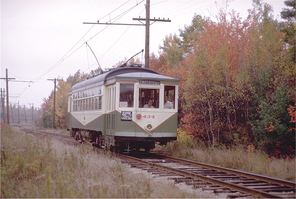 (271k, 1024x689)<br><b>Country:</b> United States<br><b>City:</b> Kennebunk, ME<br><b>System:</b> Seashore Trolley Museum <br><b>Car:</b> Dallas Railway & Terminal 434 <br><b>Photo by:</b> Joe Testagrose<br><b>Date:</b> 10/11/1970<br><b>Viewed (this week/total):</b> 1 / 518