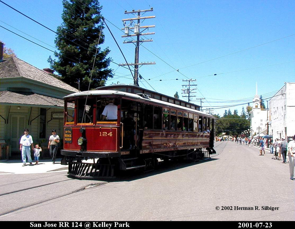 (219k, 1024x795)<br><b>Country:</b> United States<br><b>City:</b> San Jose, CA<br><b>System:</b> Kelley Park Vintage Trolley <br><b>Car:</b>  124 <br><b>Photo by:</b> Herman R. Silbiger<br><b>Date:</b> 7/23/2001<br><b>Viewed (this week/total):</b> 1 / 788