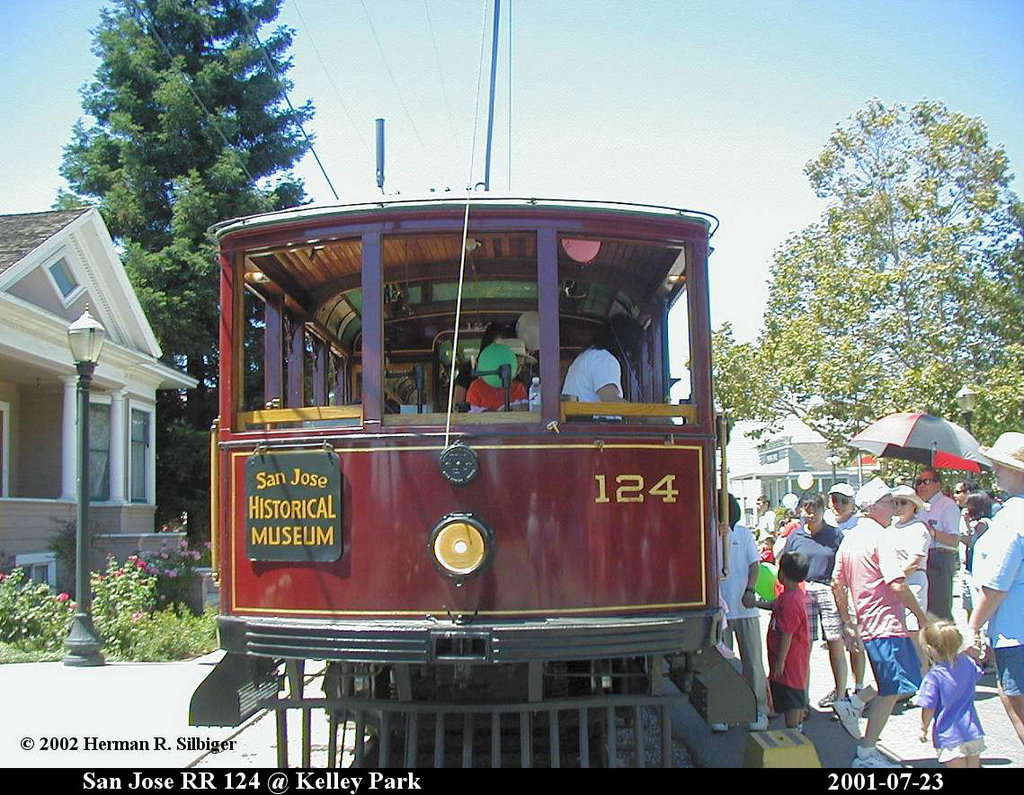 (263k, 1024x795)<br><b>Country:</b> United States<br><b>City:</b> San Jose, CA<br><b>System:</b> Kelley Park Vintage Trolley <br><b>Car:</b>  124 <br><b>Photo by:</b> Herman R. Silbiger<br><b>Date:</b> 7/23/2001<br><b>Viewed (this week/total):</b> 4 / 1187