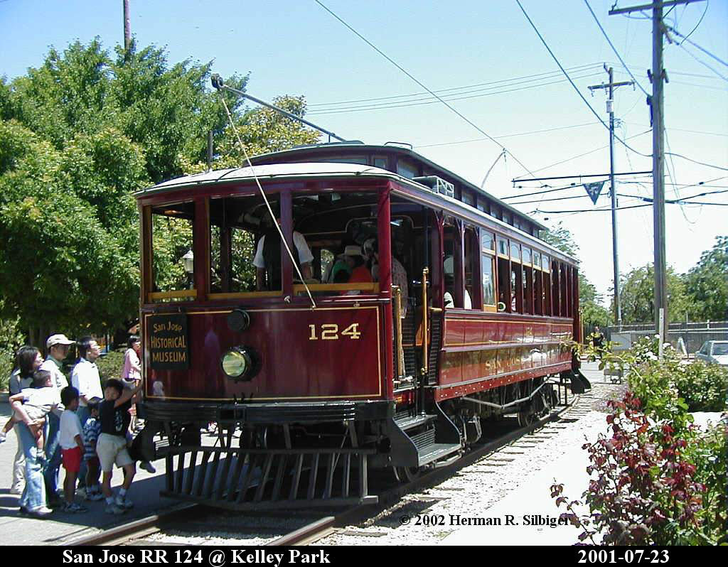 (196k, 1024x798)<br><b>Country:</b> United States<br><b>City:</b> San Jose, CA<br><b>System:</b> Kelley Park Vintage Trolley <br><b>Car:</b>  124 <br><b>Photo by:</b> Herman R. Silbiger<br><b>Date:</b> 7/23/2001<br><b>Viewed (this week/total):</b> 0 / 1034