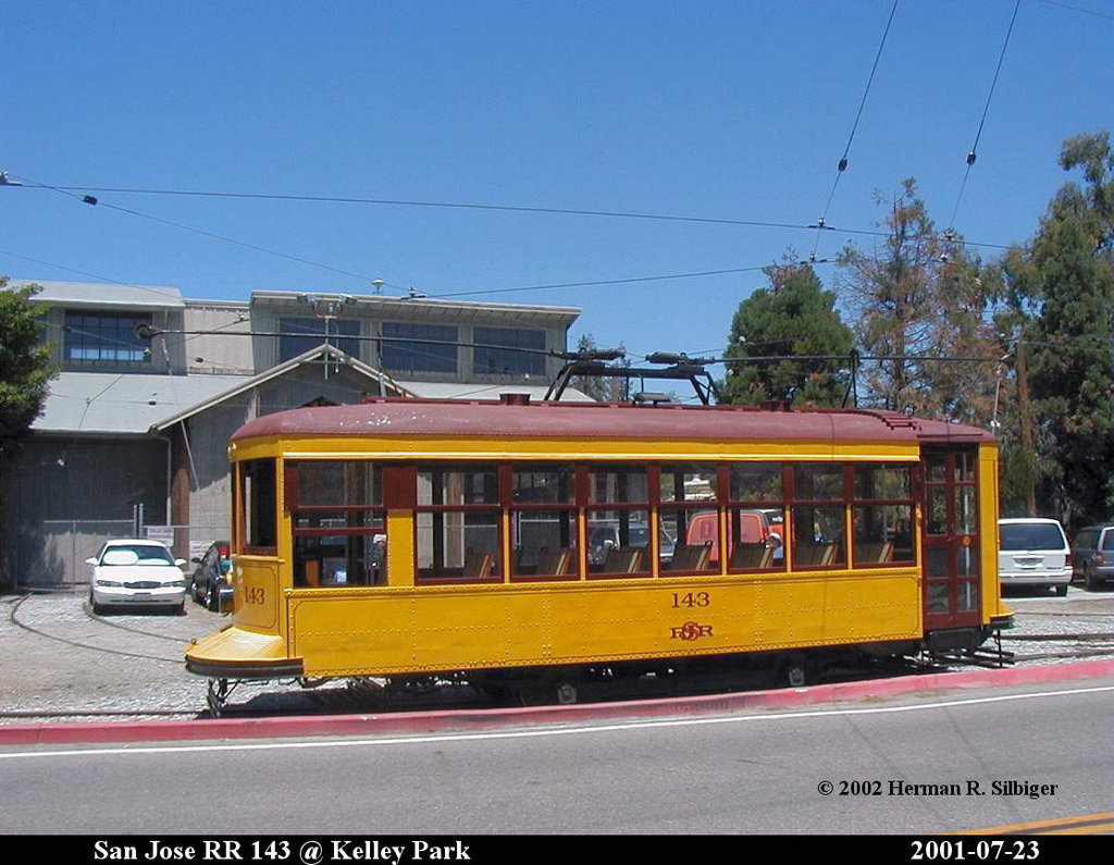 (187k, 1024x795)<br><b>Country:</b> United States<br><b>City:</b> San Jose, CA<br><b>System:</b> Kelley Park Vintage Trolley <br><b>Car:</b>  143 <br><b>Photo by:</b> Herman R. Silbiger<br><b>Date:</b> 7/23/2001<br><b>Viewed (this week/total):</b> 0 / 795
