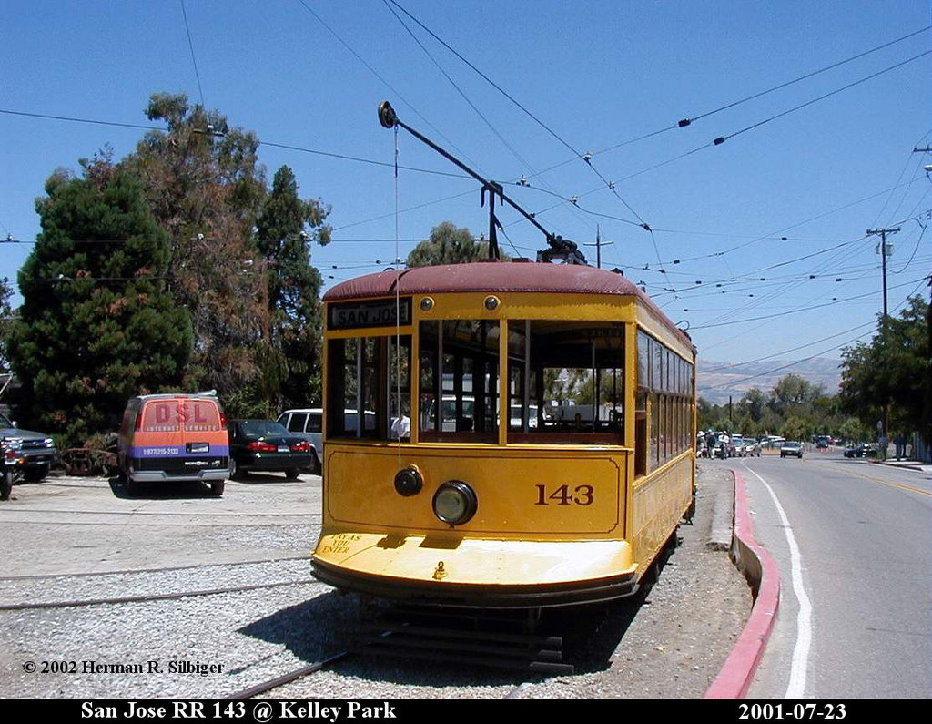 (219k, 1024x795)<br><b>Country:</b> United States<br><b>City:</b> San Jose, CA<br><b>System:</b> Kelley Park Vintage Trolley <br><b>Car:</b>  143 <br><b>Photo by:</b> Herman R. Silbiger<br><b>Date:</b> 7/23/2001<br><b>Viewed (this week/total):</b> 0 / 774