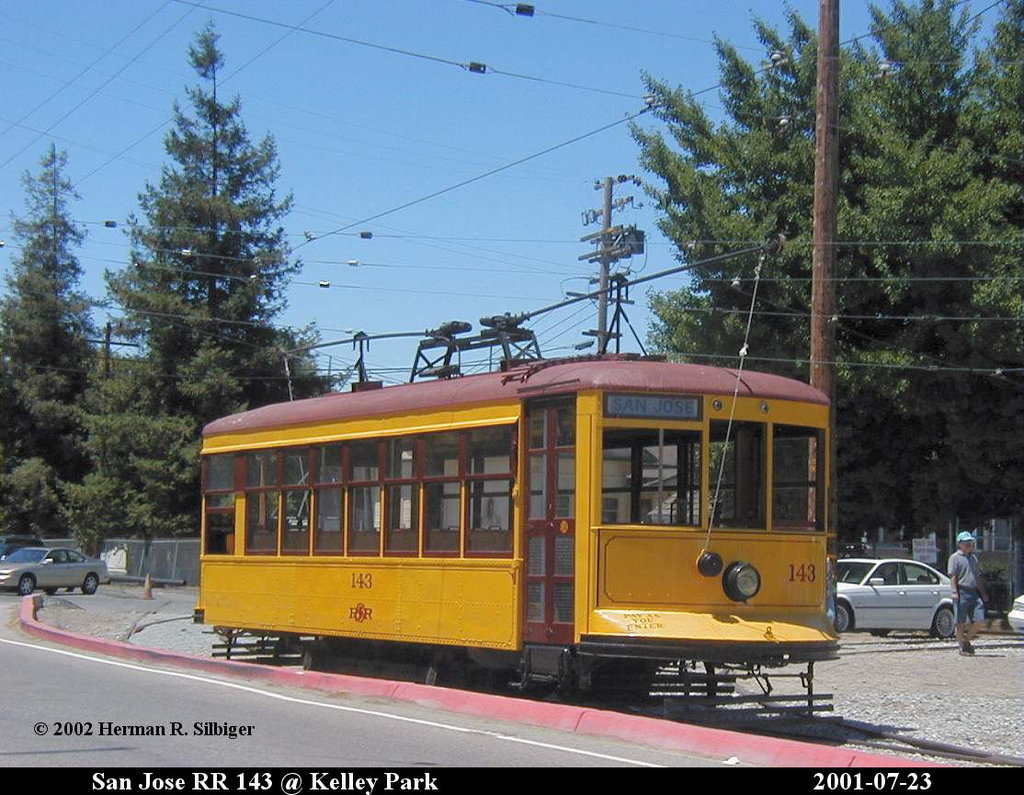 (221k, 1024x795)<br><b>Country:</b> United States<br><b>City:</b> San Jose, CA<br><b>System:</b> Kelley Park Vintage Trolley <br><b>Car:</b>  143 <br><b>Photo by:</b> Herman R. Silbiger<br><b>Date:</b> 7/23/2001<br><b>Viewed (this week/total):</b> 1 / 881