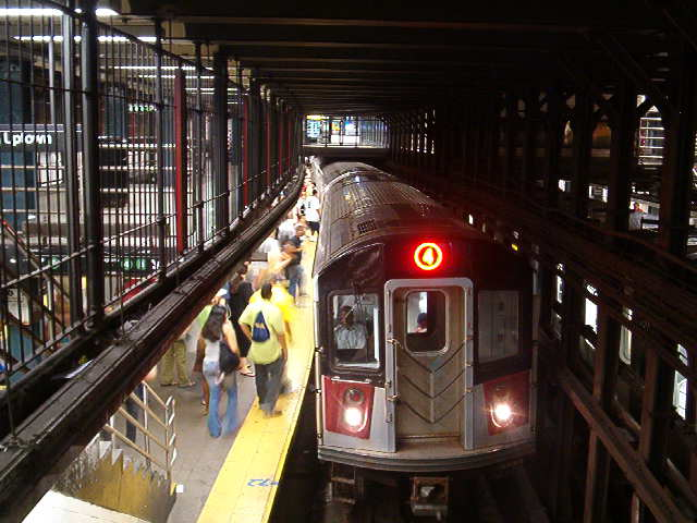 (55k, 640x480)<br><b>Country:</b> United States<br><b>City:</b> New York<br><b>System:</b> New York City Transit<br><b>Line:</b> IRT East Side Line<br><b>Location:</b> 14th Street/Union Square <br><b>Route:</b> 4<br><b>Car:</b> R-142 (Option Order, Bombardier, 2002-2003)  7030 <br><b>Photo by:</b> John Barnes<br><b>Date:</b> 8/26/2006<br><b>Viewed (this week/total):</b> 2 / 4481
