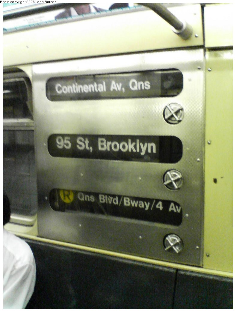(119k, 788x1044)<br><b>Country:</b> United States<br><b>City:</b> New York<br><b>System:</b> New York City Transit<br><b>Route:</b> R<br><b>Car:</b> R-32 (Budd, 1964)  3845 <br><b>Photo by:</b> John Barnes<br><b>Date:</b> 8/25/2006<br><b>Notes:</b> Original cranks on rollsign.<br><b>Viewed (this week/total):</b> 0 / 3291